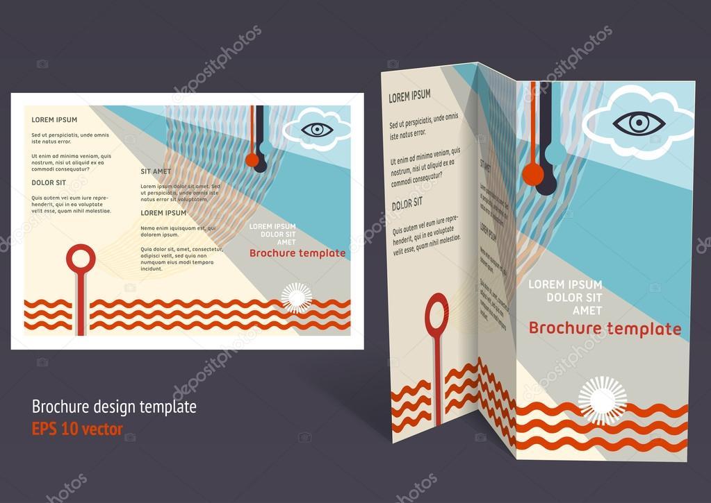 Brochure, booklet z-fold layout. Editable design template — Stock ...