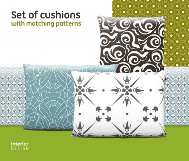 Set of cushions and pillows