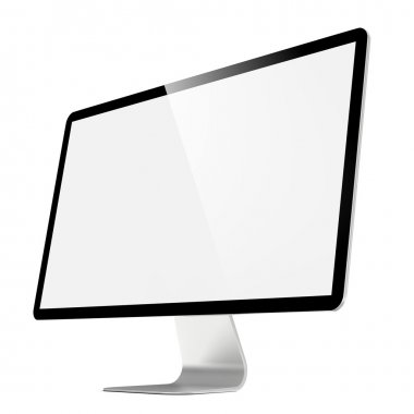 Modern 4k Widescreen Lcd Monitor. Isolated on White. stock vector