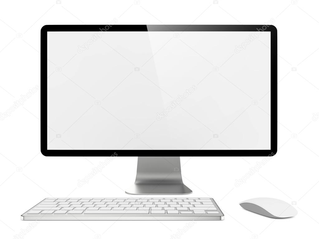 Computer Monitor with Mouse and Keyboard.