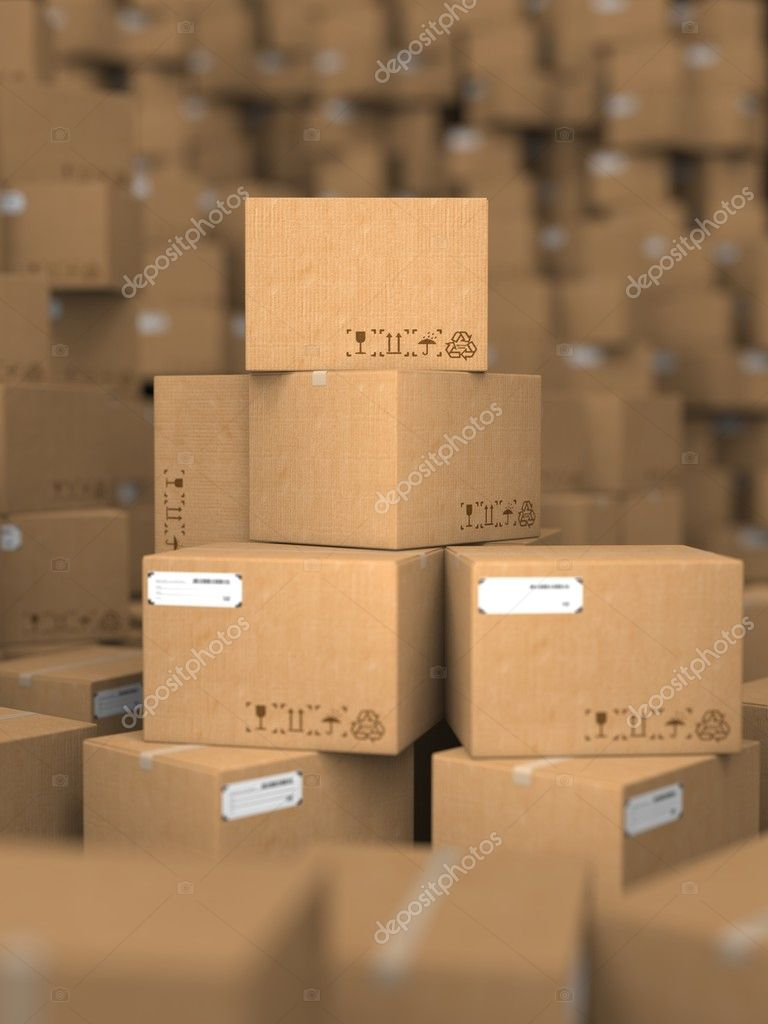 Stacks of Cardboard Boxes.