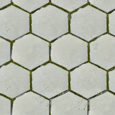 Old Hexagonal Paving Slabs. Seamless Texture.