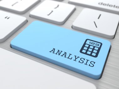 Data Analysis Concept. Analysis word on Blue Computer Button. stock vector