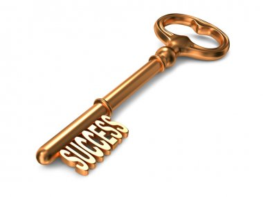 Success - Golden Key on White Background. 3D Render. Business Concept. stock vector