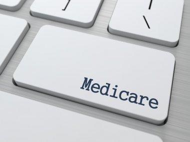 Medicare - Medical Concept. Button on Modern Computer Keyboard. 3D Render. stock vector