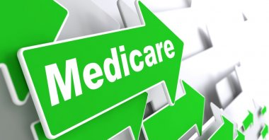 Medicare - Medical Concept. Green Arrow with