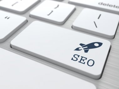 SEO. Button on Modern Computer Keyboard. Internet Concept. 3D Render. stock vector