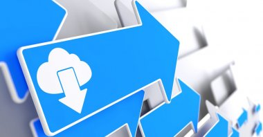 Cloud with Arrow Icon on Blue Arrow.
