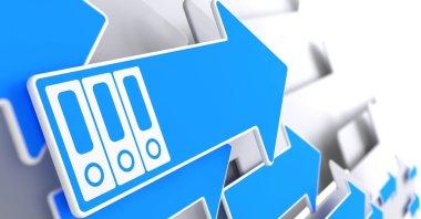 Folders Icon on Blue Arrow.