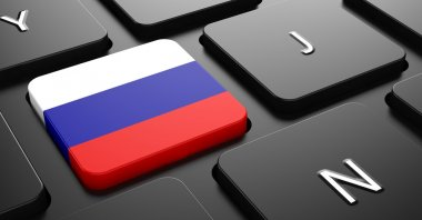 Russia - Flag on Button of Black Keyboard.