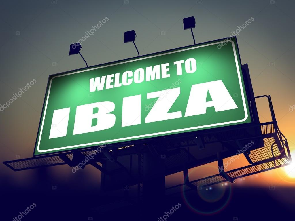 billboard welcome to ibiza at sunrise stock photo. Black Bedroom Furniture Sets. Home Design Ideas