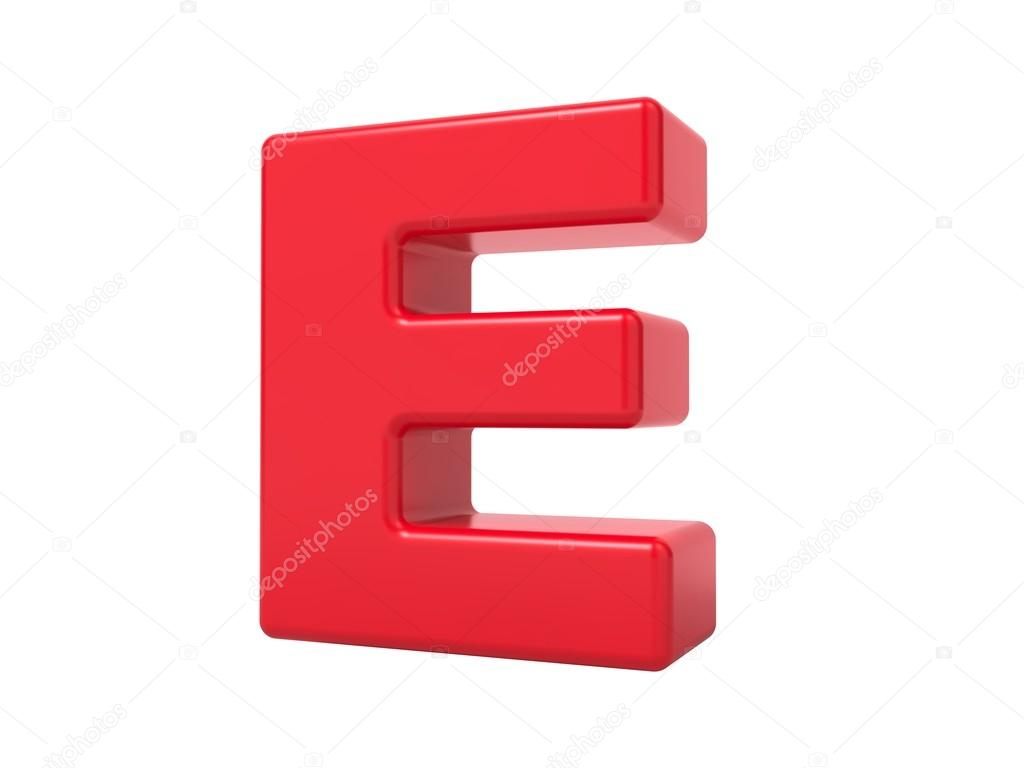 Red 3D Letter E Stock Photo