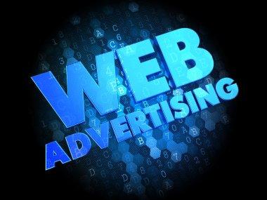 Web Advertising on Dark Digital Background.