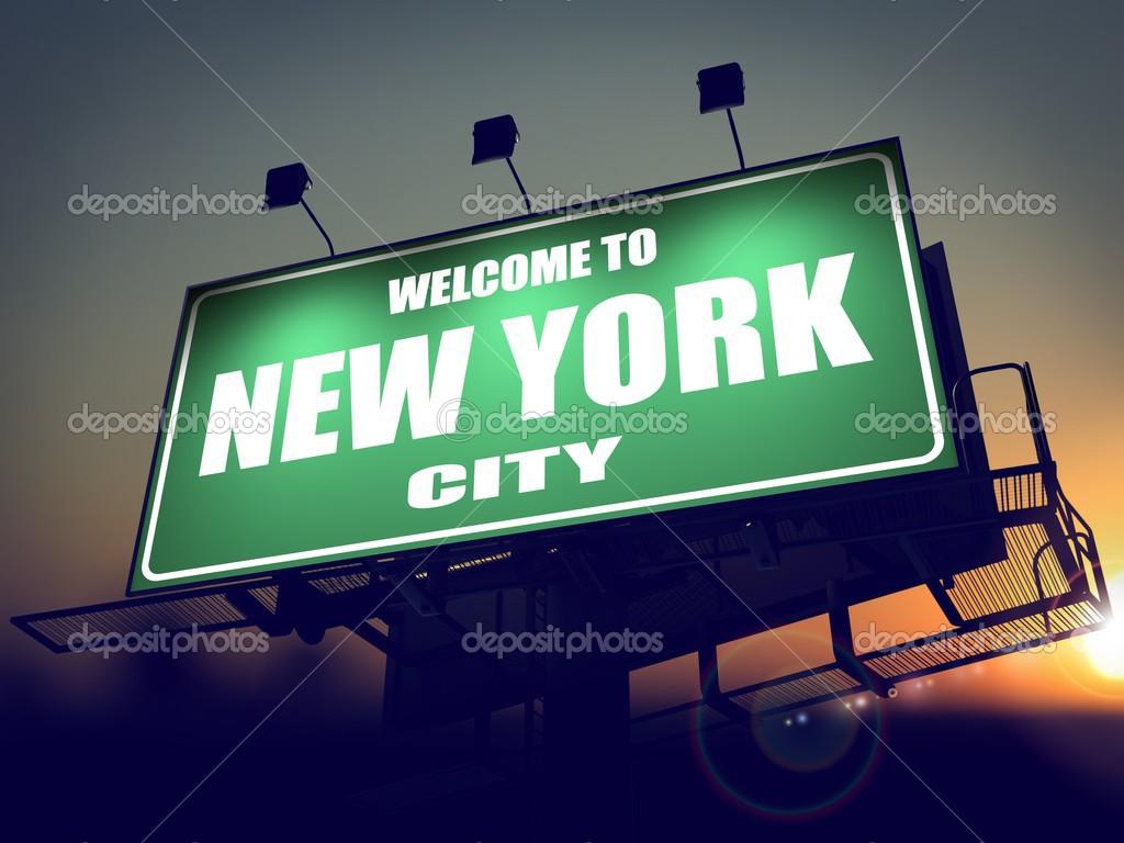 Panneau Bienvenue à New York Au Lever Du Soleil Photographie
