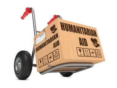 Humanitarian Aid - Cardboard Box on Hand Truck.
