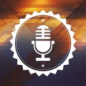 Microphone Icon on Retro Triangle Background.