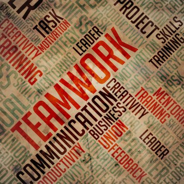 Teamwork - Grunge Wordcloud.