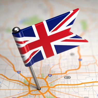 Great Britain Small Flag on a Map Background.