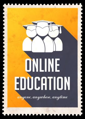 Online Education on Yellow in Flat Design.