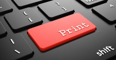 Print on Red Keyboard Button