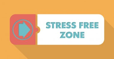 Stress Free Zone on Orange in Flat Design.