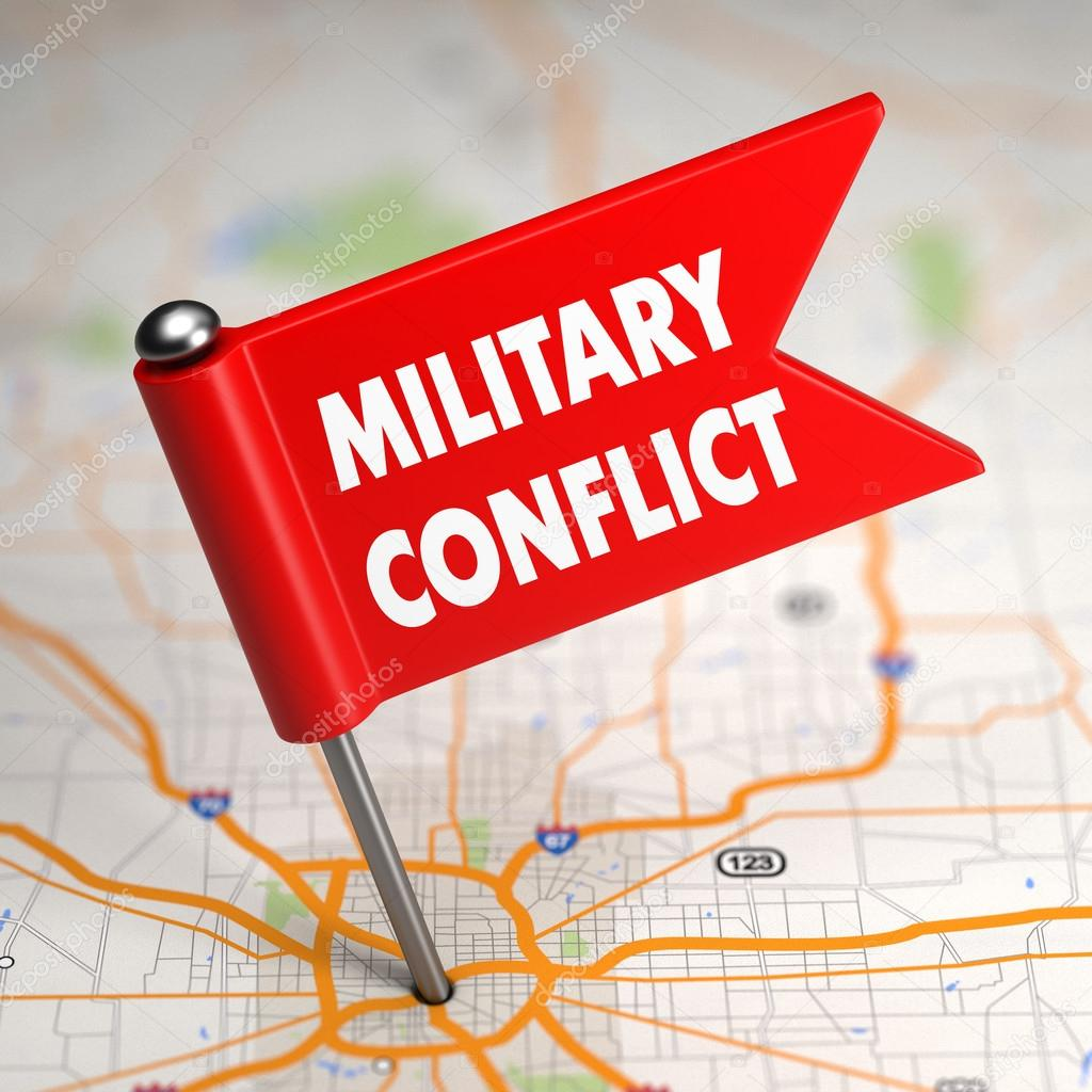 Military Conflict - Small Flag on a Map Background.