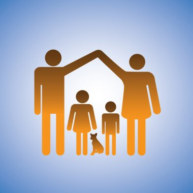 Concept illustration of parents,children & dog forming a home. T