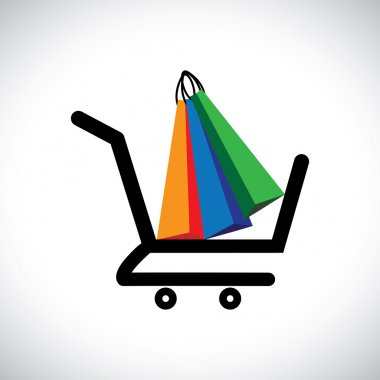 Concept illustration - online shopping cart & bags. The graphic