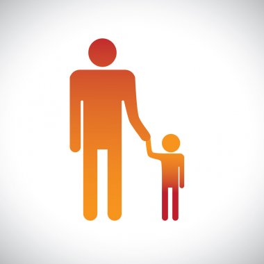 Illustration of father & son holding together. This graphic repr
