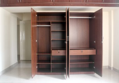 Stylish & modern empty cupboard in a room of a newly built house