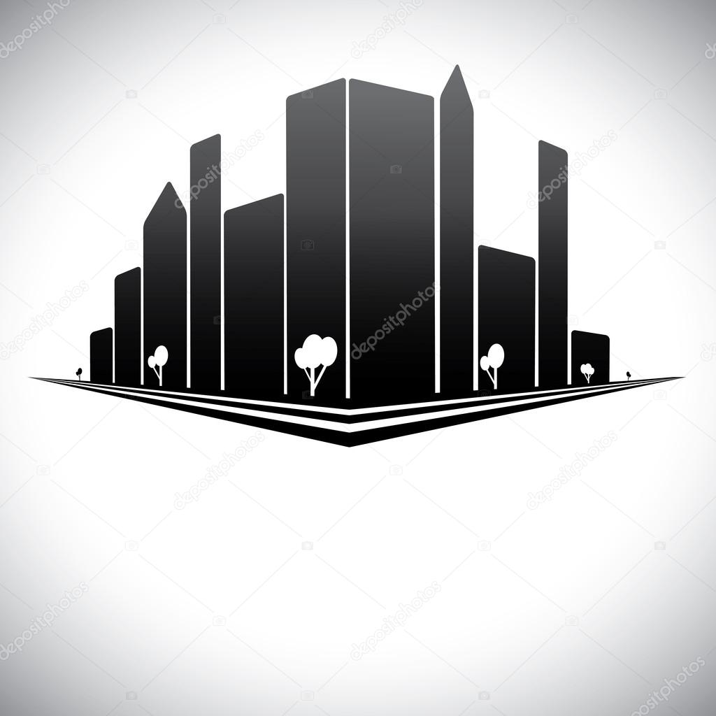 Downtown buildings in b & w of modern city skyline with skyscrap