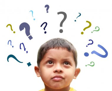 Young indian boy puzzled over many confusing questions without s