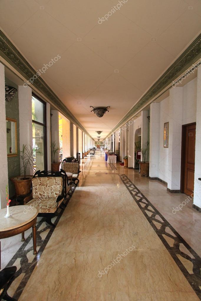 . Modern hotel resort restaurant corridor with stylish decor   Stock