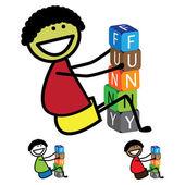 Ilustrace - roztomilý boy(kid) stavba slova pomocí barevné bloku