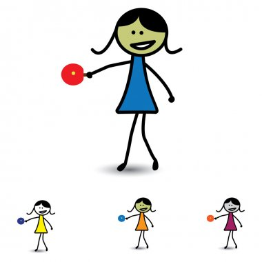 Illustration of cute girl(kid) playing table tennis game. The gr