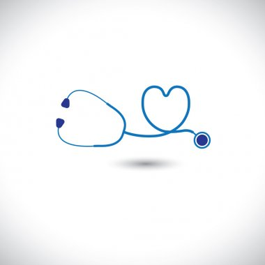 Graphic of medical diagnostic tool - stethoscope and heart symbo
