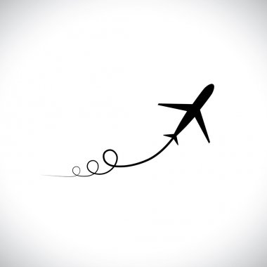 Illustration of airplane icon take off showing its path & speedi
