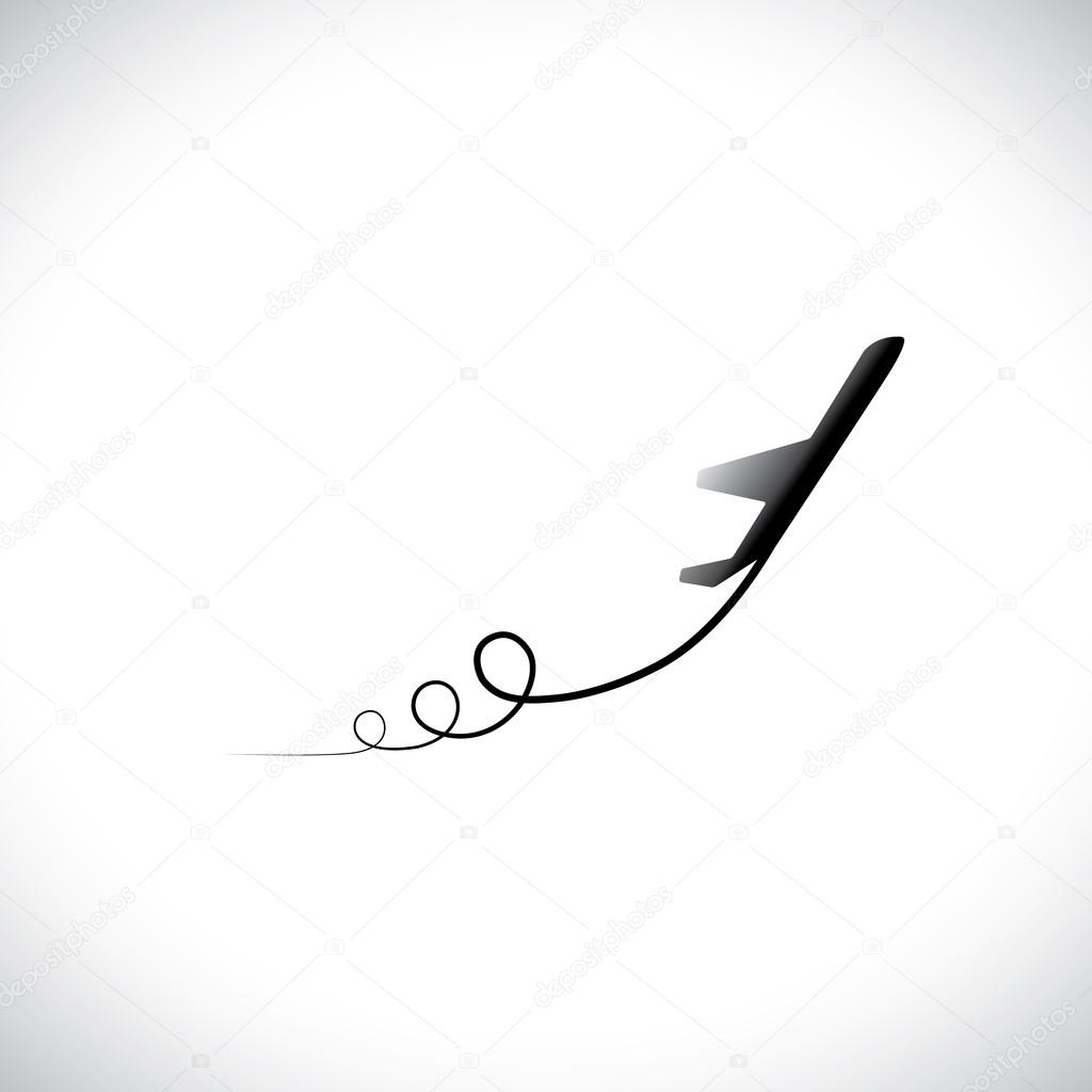 Graphic of airplane icon take off showing its path in high spe graphic of airplane icon take off showing its path in high speed this illustration can also represent silhouette symbol of a military jet speeding up in buycottarizona Gallery