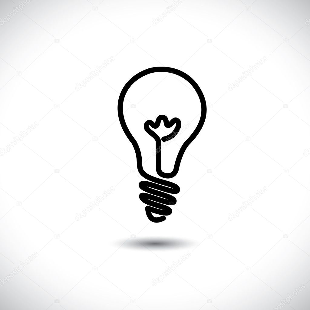 Incandescent simple black line light bulb icon symbol graphic. T ... for Incandescent Lamp Symbol  585eri