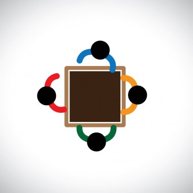 Graphic- Team of employer or office staff or workers in a meetin