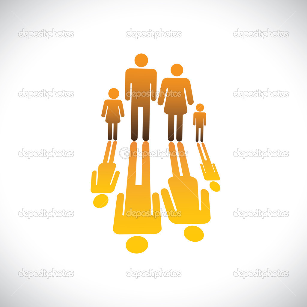 Family Of Four Symbols Fathermotherson Daughter Icon Stock