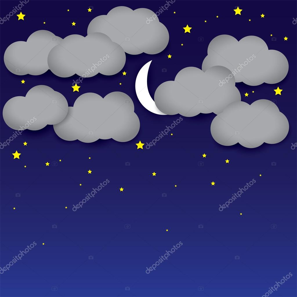 Vector background- white paper clouds, night sky, moon, stars