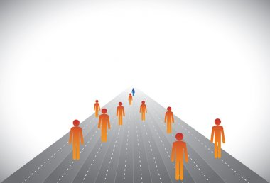 Group of followers & leader or employees & manager- concept vect
