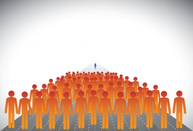 Crowd of followers & leader or employees & manager-concept vecto
