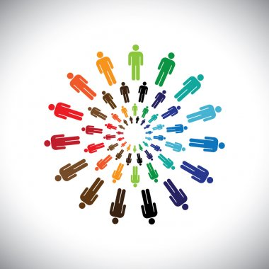 Colorful multi-ethnic teams or communities meet as circle
