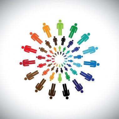 Colorful multi-ethnic teams or communities meet as circle