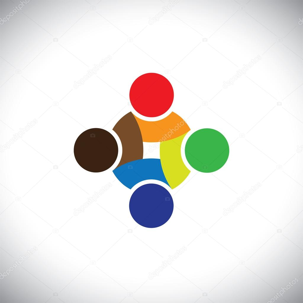 Colorful design of symbols working as team & cooperating