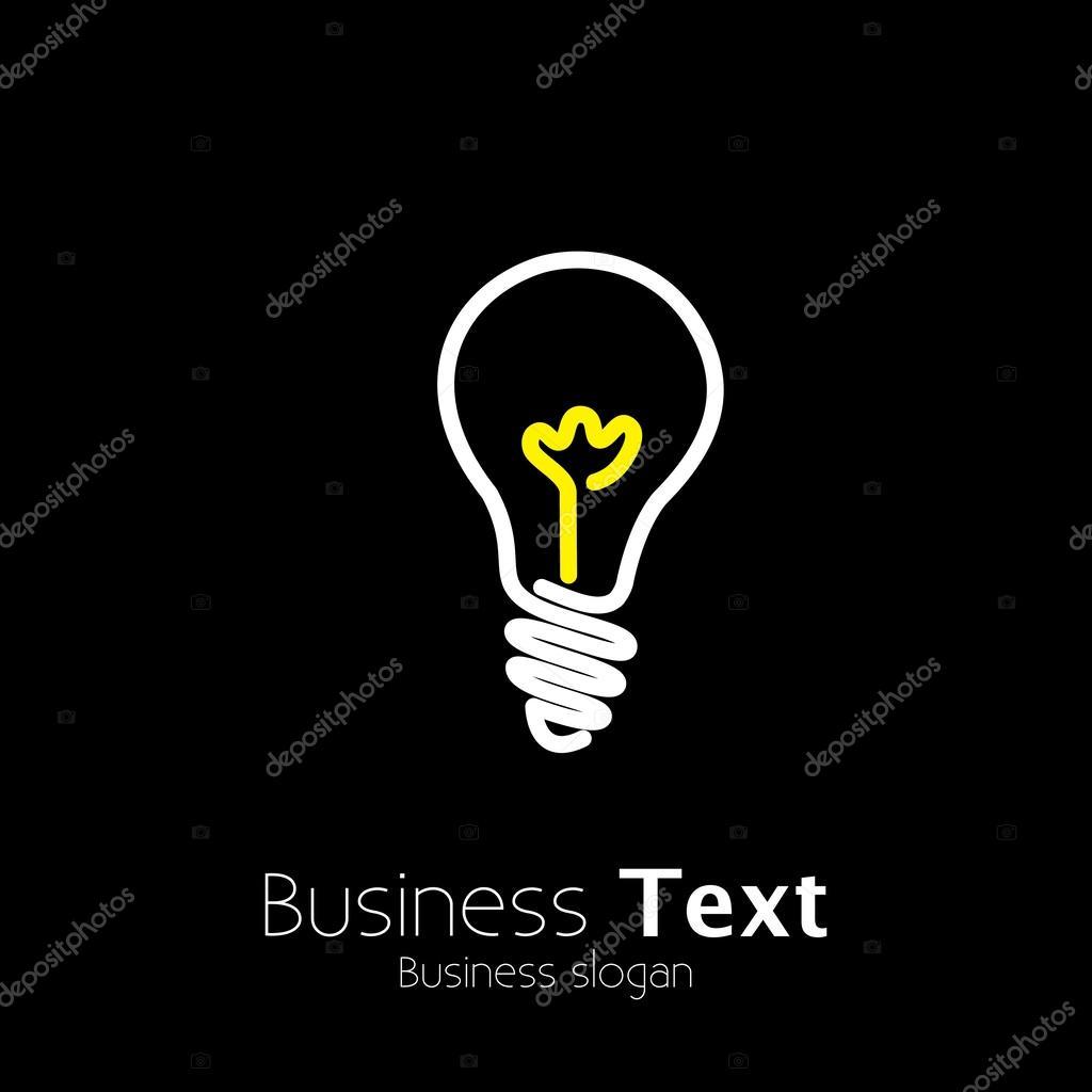Bright lightbulb icon symbol on black background- vector graphic