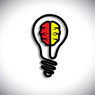 Concept of Idea generation, problem solution, creativity. This graphic illustration consists of a bulb and a brain inside it. clip art vector