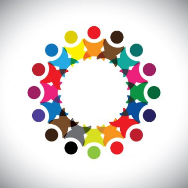 Concept vector graphic- abstract colorful employee unity icons(signs). The illustration represents concepts like worker unions, employee diversity, community friendship & sharing, happy kids playing clip art vector